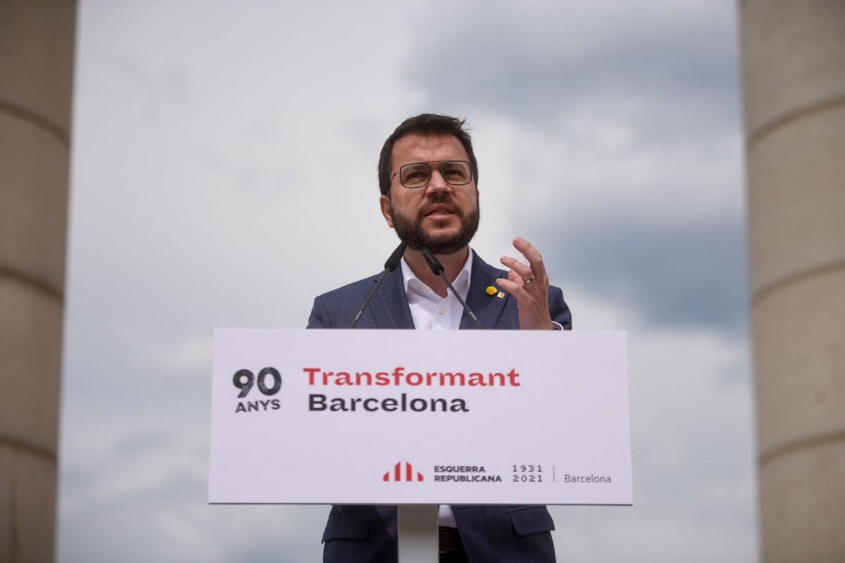 Pere Aragonès, en l'acte d'ERC a les Quare Columnes de Montjuïc
