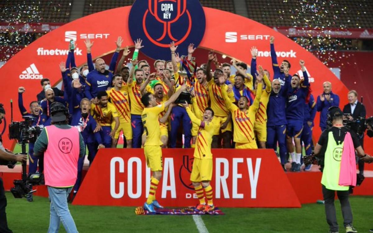 El Barça celebra la Copa del Rei a Sevilla