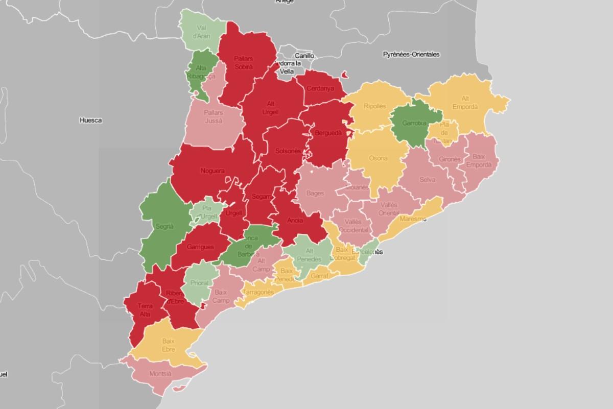 Mapa comarca, en funció de l'evolució dels contagis setmanals.