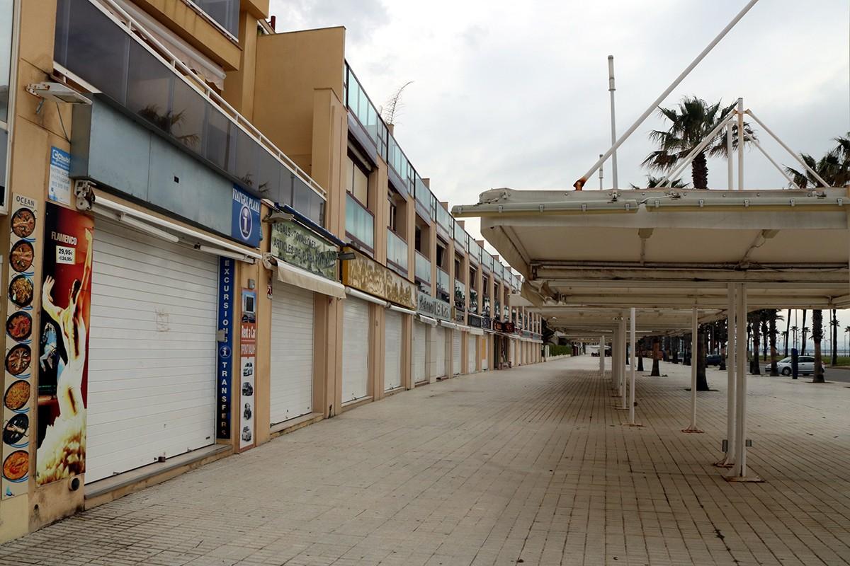 Una zona d'establiments turístics al nucli de la Pineda, a Vila-seca.