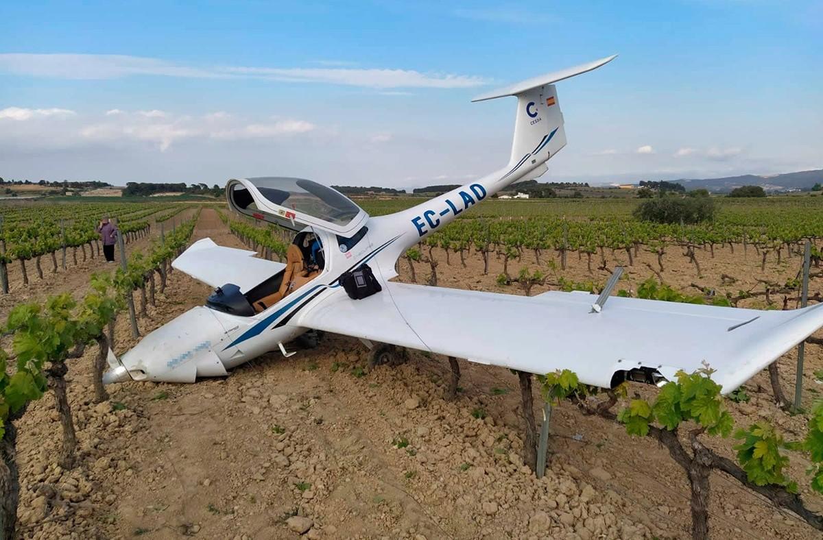 L'avioneta del CESDA després de fer un aterratge d'emergència en un camp de vinyes de Sant Jaume dels Domenys.