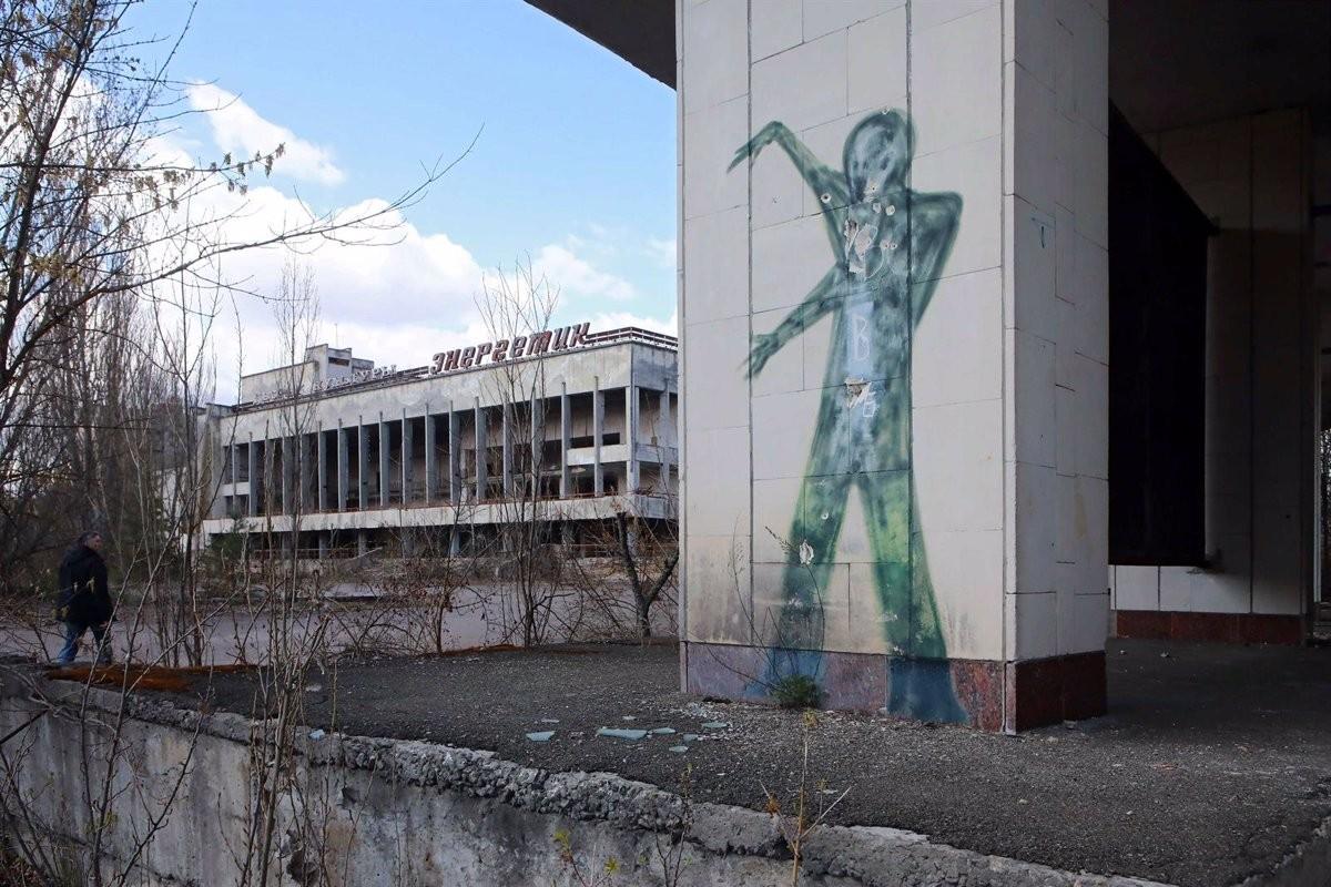 Un mural a Prípiat, a prop de Txernòbil