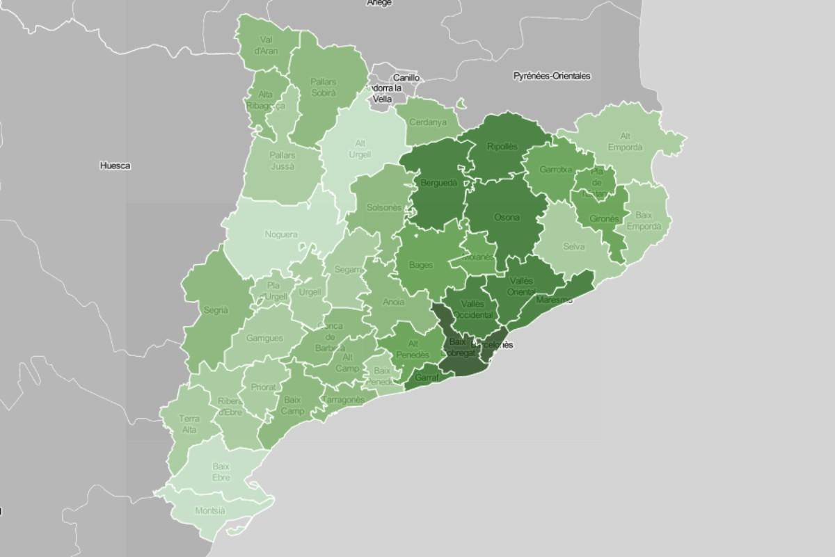 Mapa comarcal, en funció de la renda familiar disponible