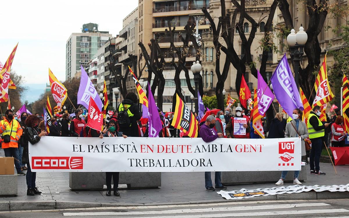 Imatge de la mobilització de l'1 de maig a Tarragona, convocada per CCOO i UGT.