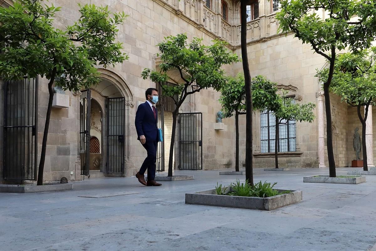 Pere Aragonès, abans d'una reunió del Govern.