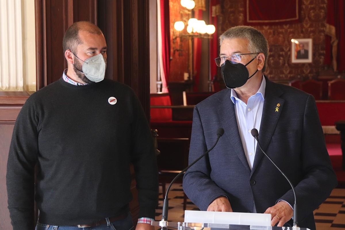 L'alcalde de Tarragona, Pau Ricomà, acompanyat del conseller de Territori de Tarragona, Xavier Puig.