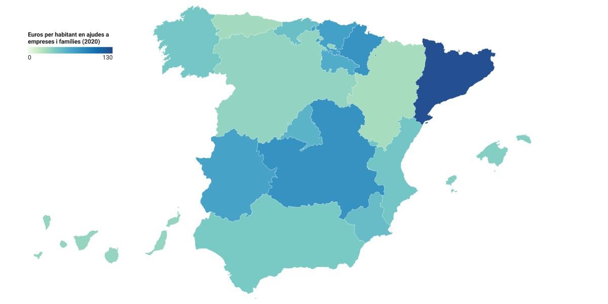 Mapa de l'Estat, en funció de les ajudes directes durant el 2020.