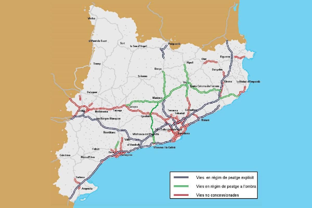 Mapa de les autovies i autopistes de Catalunya fins al 2019.