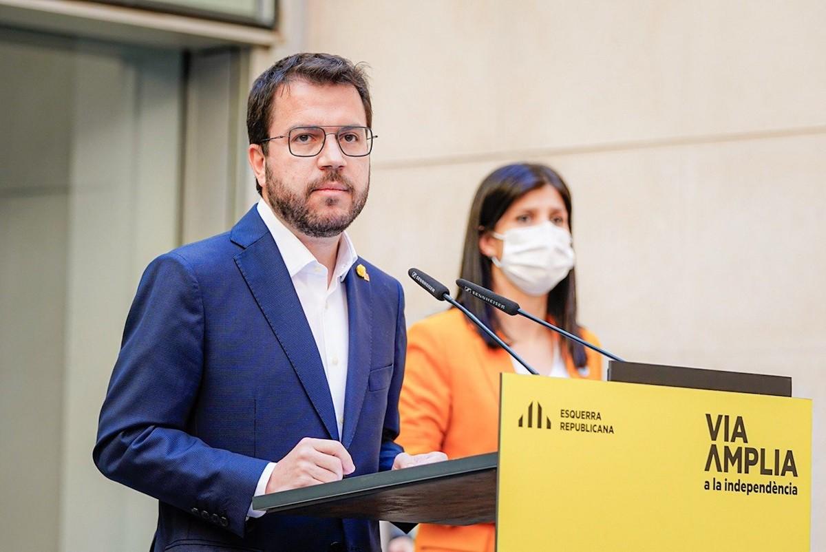 Pere Aragonès, aquest dissabte a la seu d'ERC.