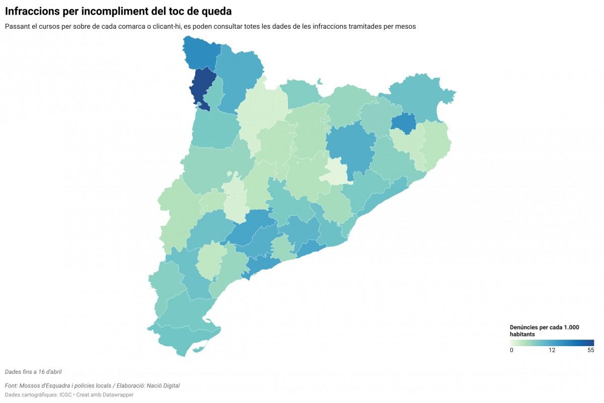 Mapa comarcal, en funció de les infraccions per incomplir el toc de queda.