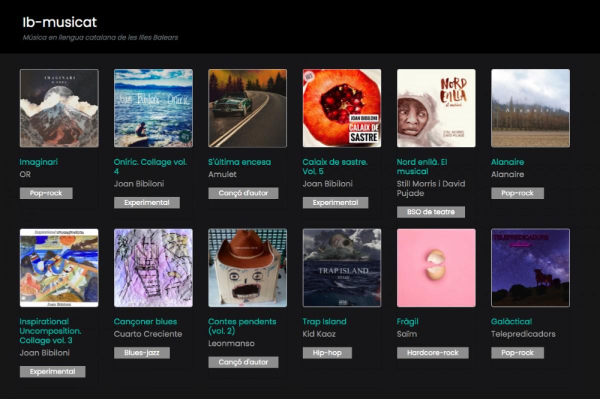 L'interfície del portal web de l'IB Musicat