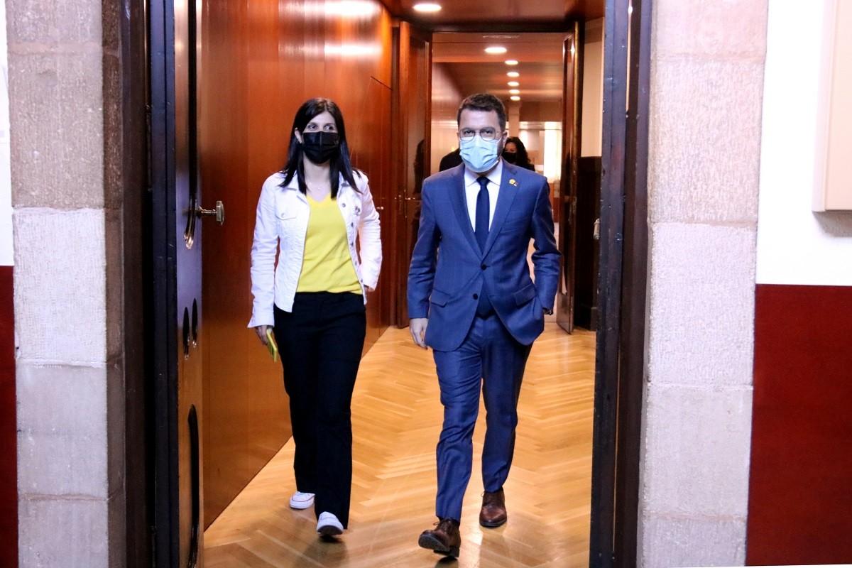 Pere Aragonès i Marta Vilalta, aquest dimarts al Parlament.