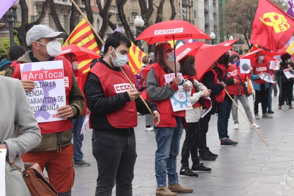 Acte de CCOO a Tarragona durant l'1 de maig.