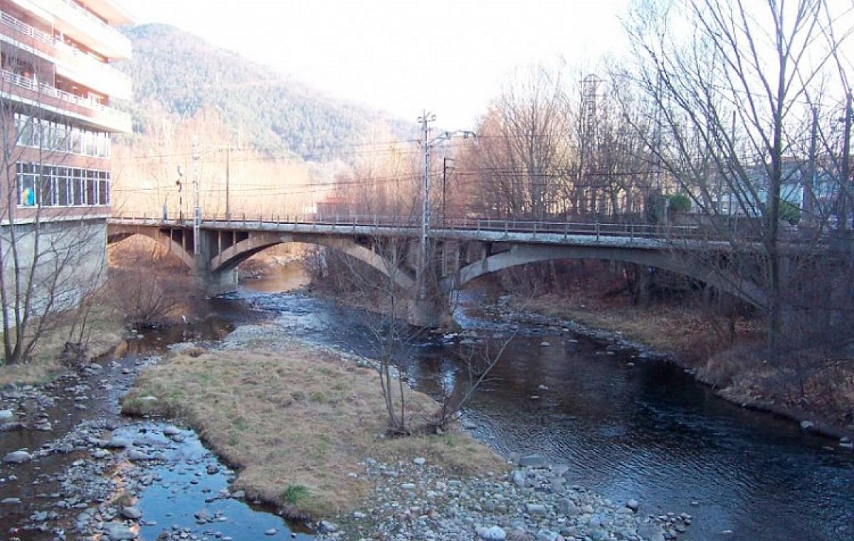 El pont del tren al seu pas per Ripoll