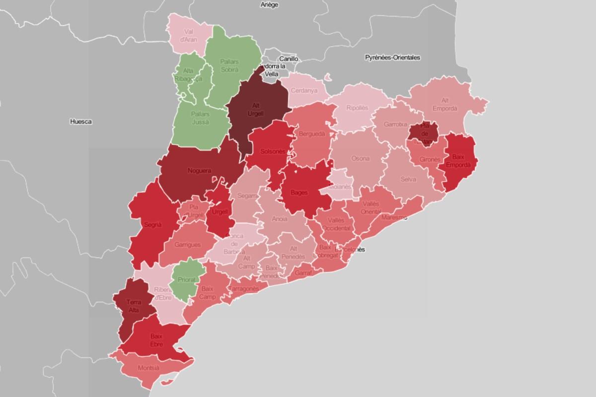 Mapa comarcal, en funció de l'evolució dels desplaçaments en la mitjanit dels darrers dos caps de setmana.
