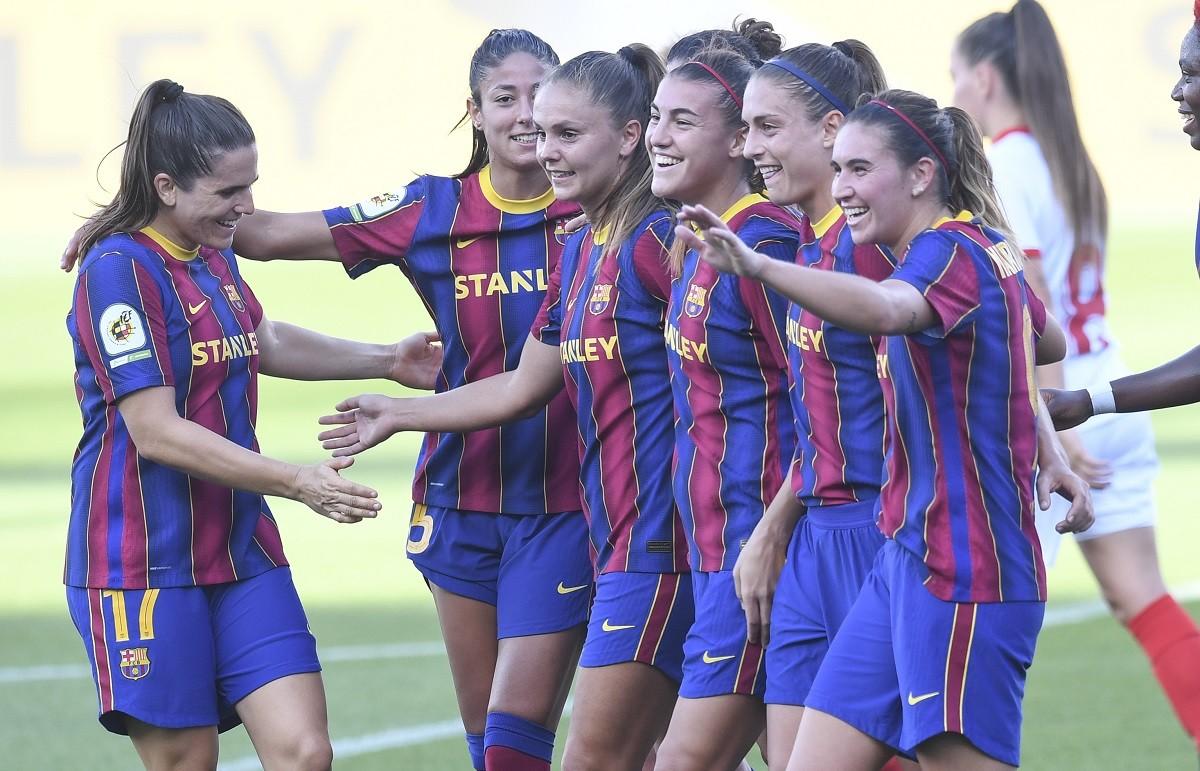 Les jugadores del Barça durant la celebració d'un gol