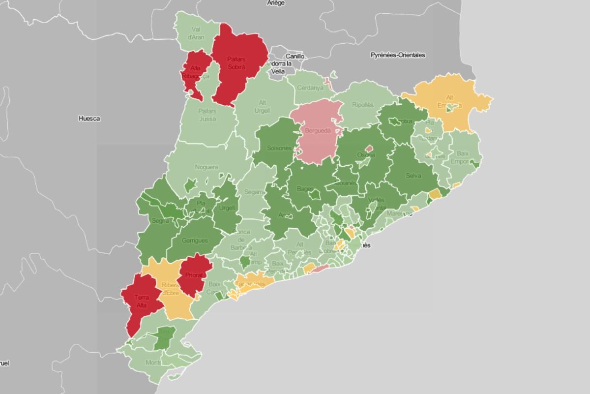 Mapa de municipis i comarques, en funció de l'evolució del nombre de contagis.