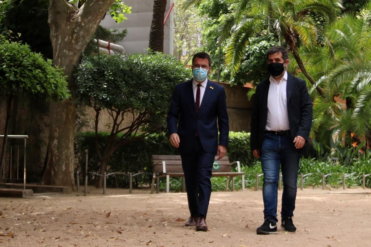 Pere Aragonès i Jordi Sànchez, aquest dilluns al Palau Robert.