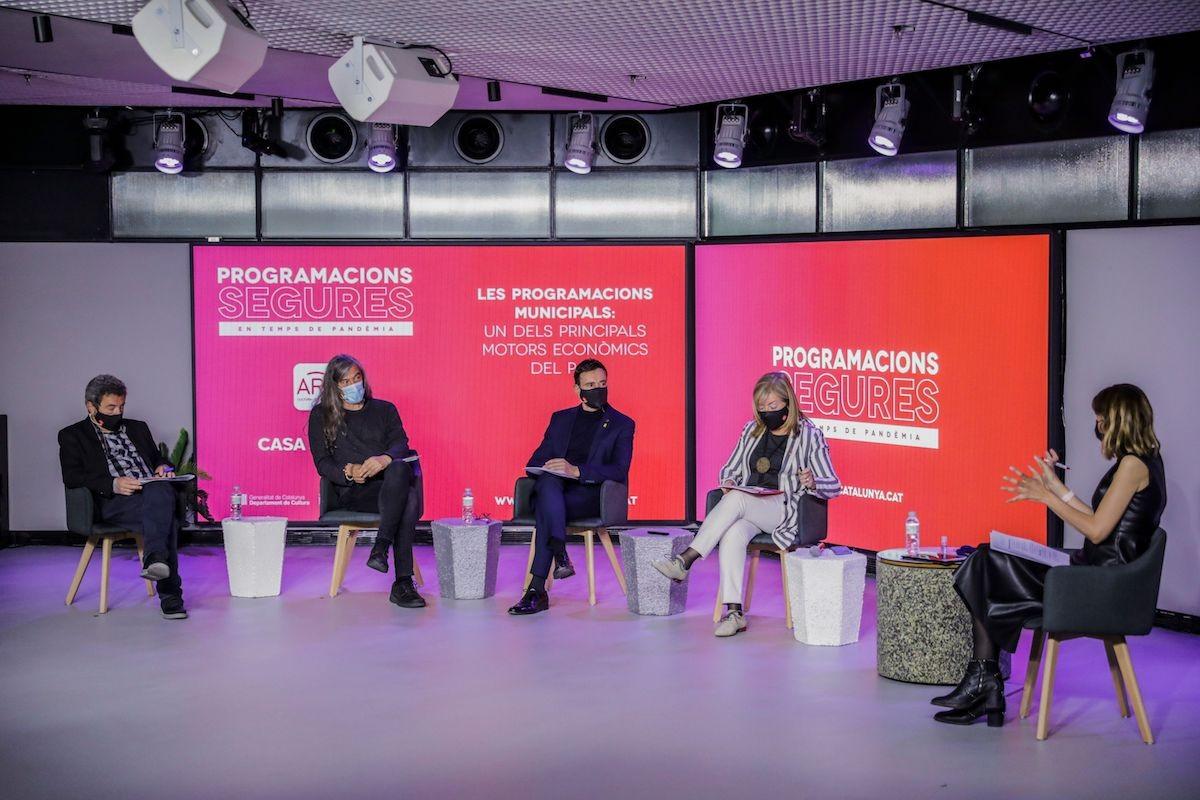Jordi Gratacós (ARC), Gerard Quintana (Acadèmia Catalana de la Música), Joan Carles Garcia (Diputació de Barcelona), i Àngels Ponsa (Consellera de Cultura) i Cristina Puig (periodista)