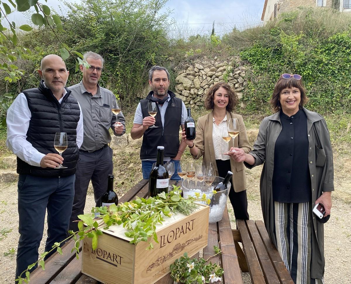 Presentació del vi-brant amb Jordi Bort (esquerra) i els germans Llopart