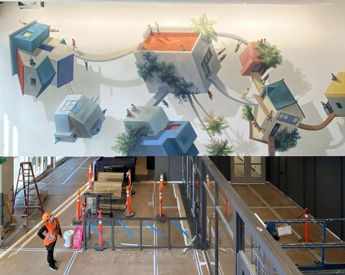 El mural que Cinta Vidal ha creat a la nova seu de Facebook
