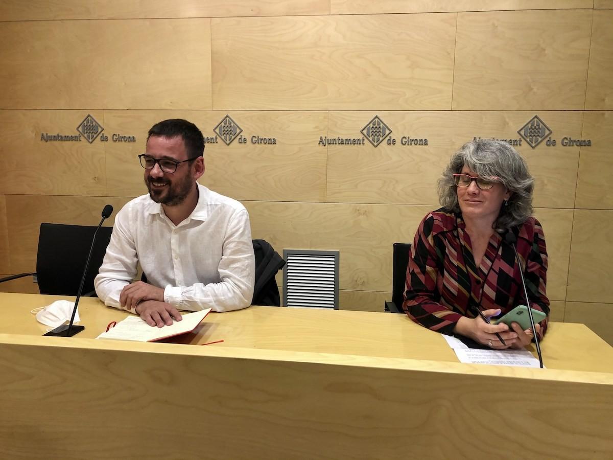 Lluc Salellas i Cristina Andreu durant la compareixença sobre els pressupostos.
