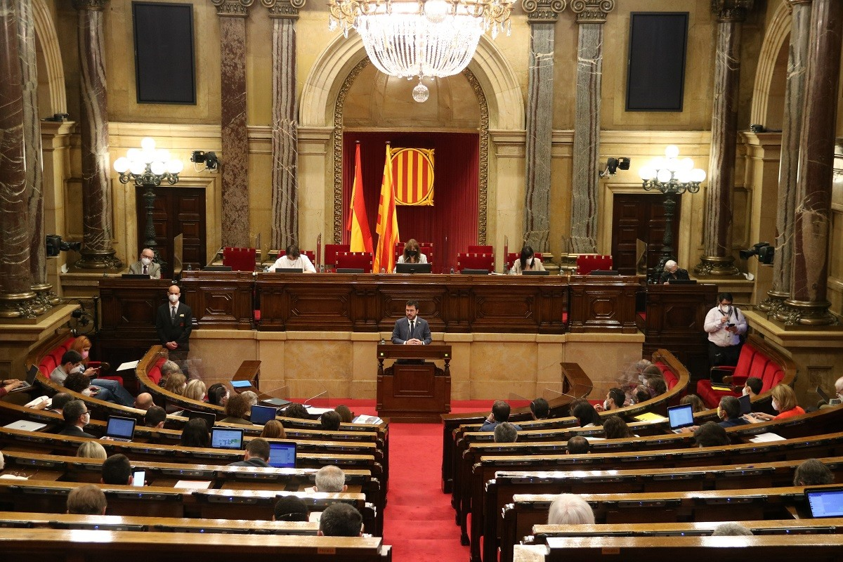 El ple del Parlament durant la investidura de Pere Aragonès