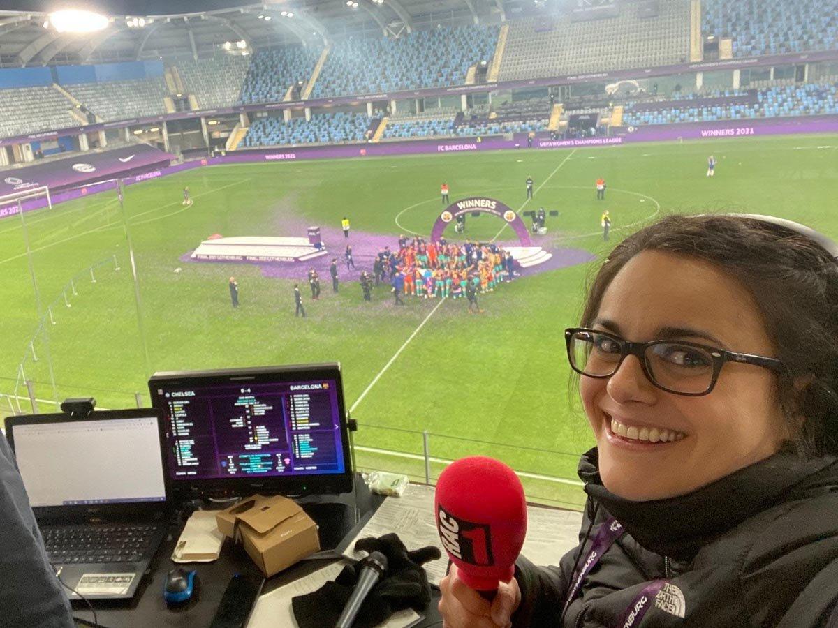 Laia Coll a l'estadi Gamla Ullevi de Suècia on es va jugar la final de la Champions femenina