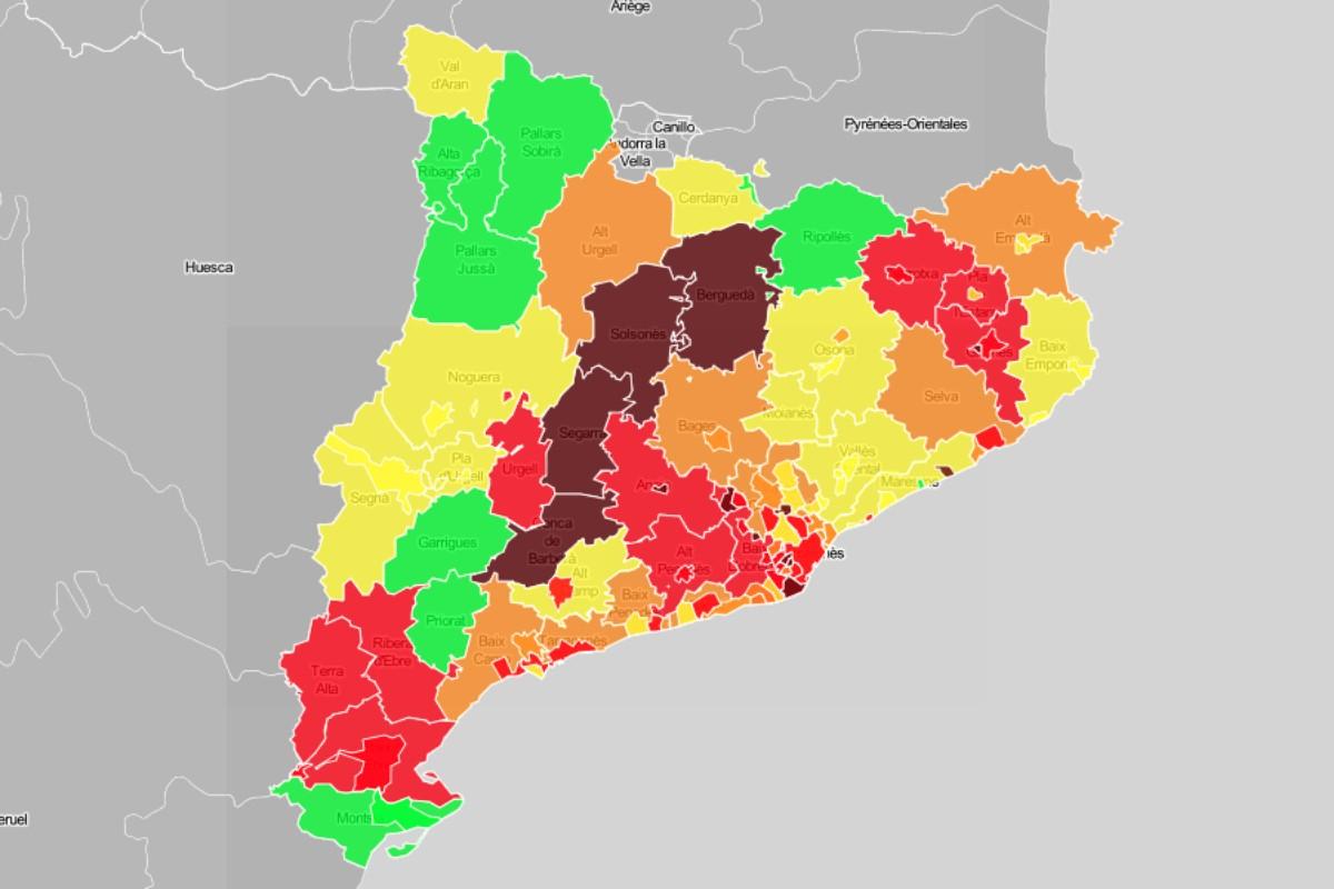 Mapa de municipis i comarques, en funció del risc de rebrot.