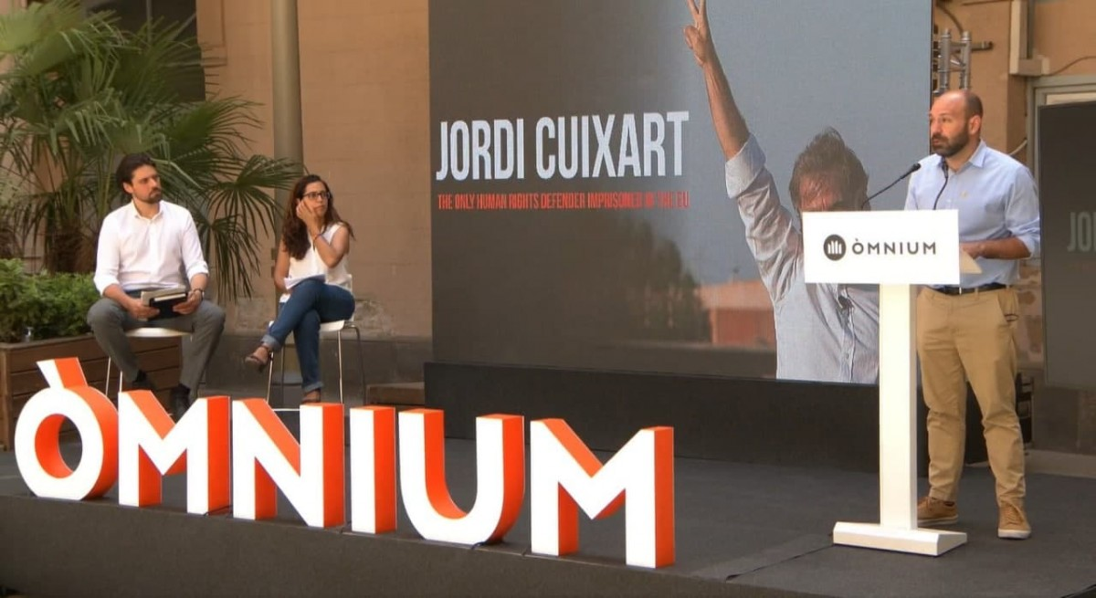 El vicepresident d'Òmnium, Marcel Mauri, en l'acte de presentació del recurs de Cuixart a Estrasburg