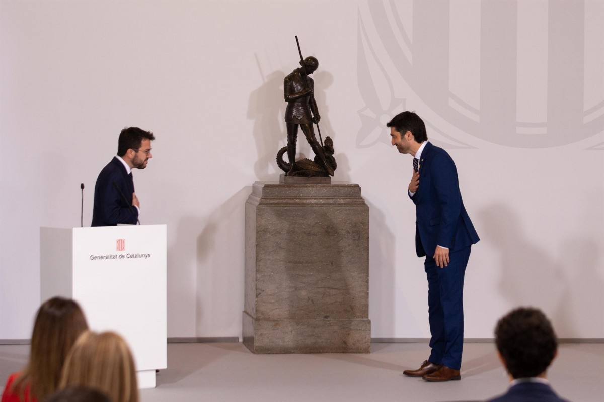 Pere Aragonès i Jordi Puigneró, el dia de la presa de possessió del Govern.