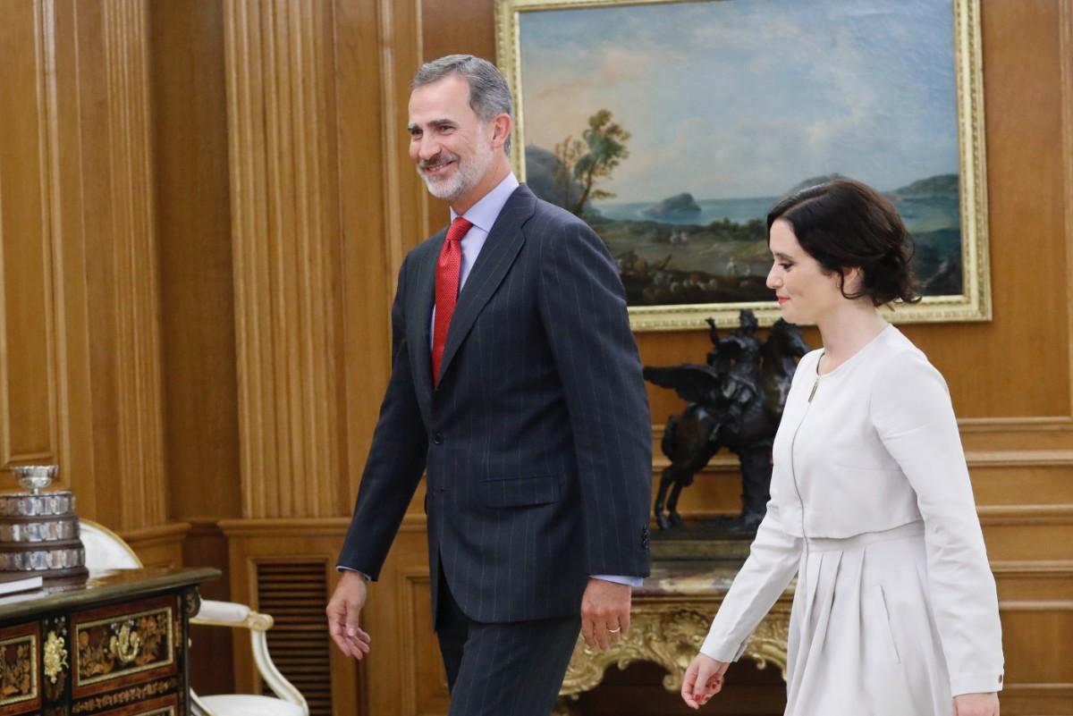 El monarca amb Díaz Ayuso a la Zarzuela.