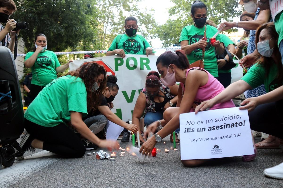 Una imatge de la manifestació convocada aquest dimarts pel moviment per l'habitatge.