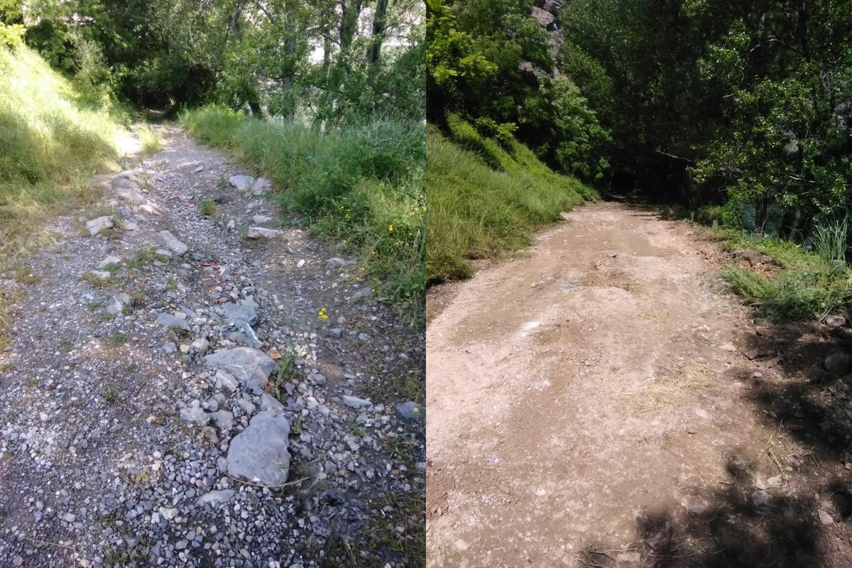 Comparativa del camí abans (esquerra) i millorat (dreta)