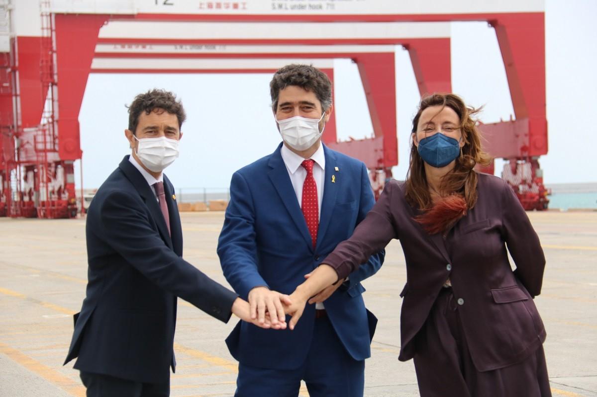 Damià Calvet, Jordi Puigneró i Mercè Conesa, aquest dijous.
