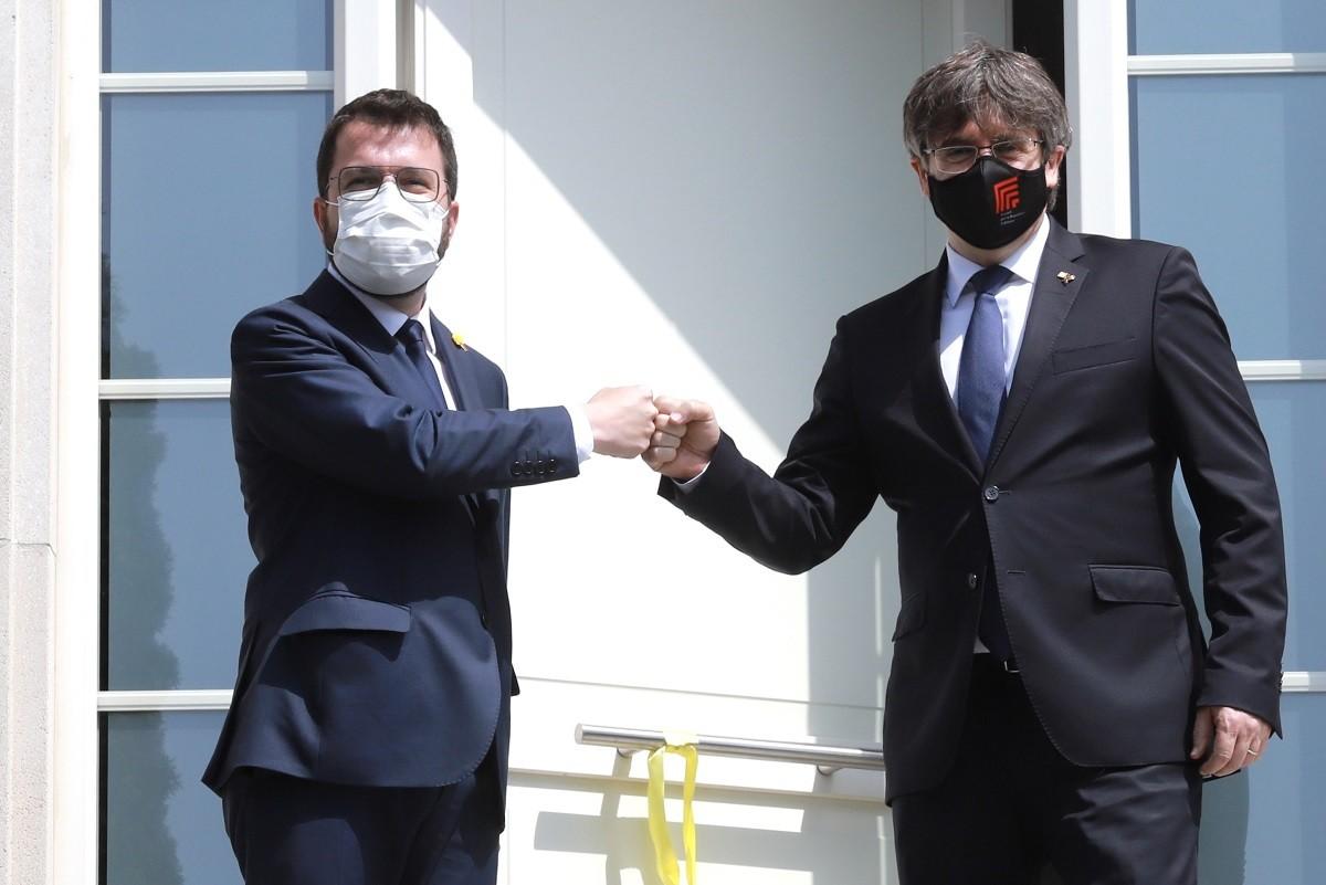 Carles Puigdemont i Pere Aragonès, reunits a Waterloo.