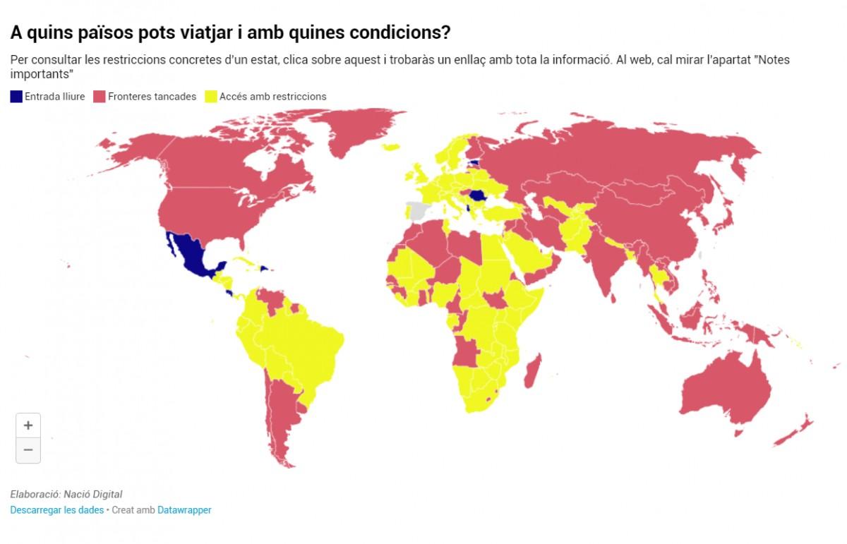 Mapa sobre quins països es poden visitar.
