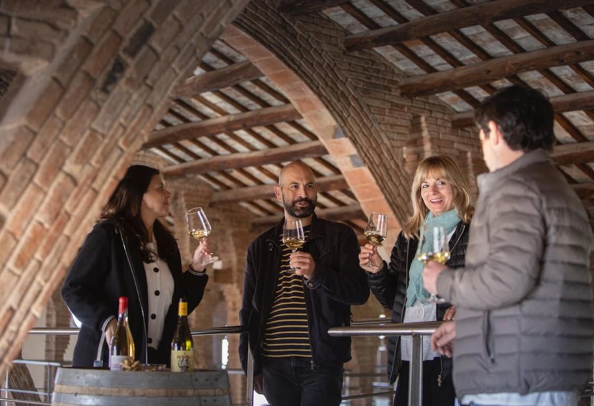 Enoturistes a la Catedral del vi de Nulles