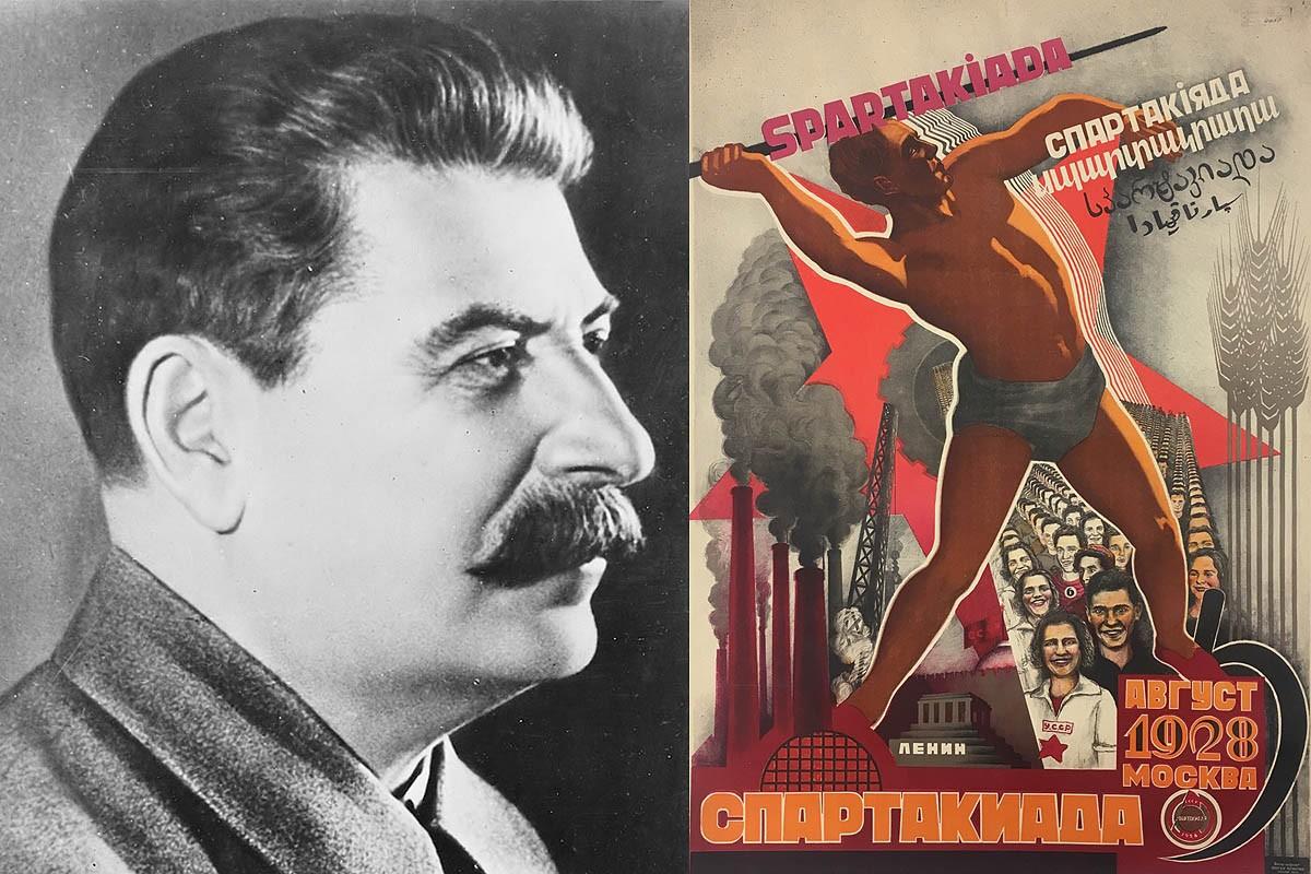 El dictador rus Stalin i un cartell dels Jocs de l'Espartaquiada del 1928.