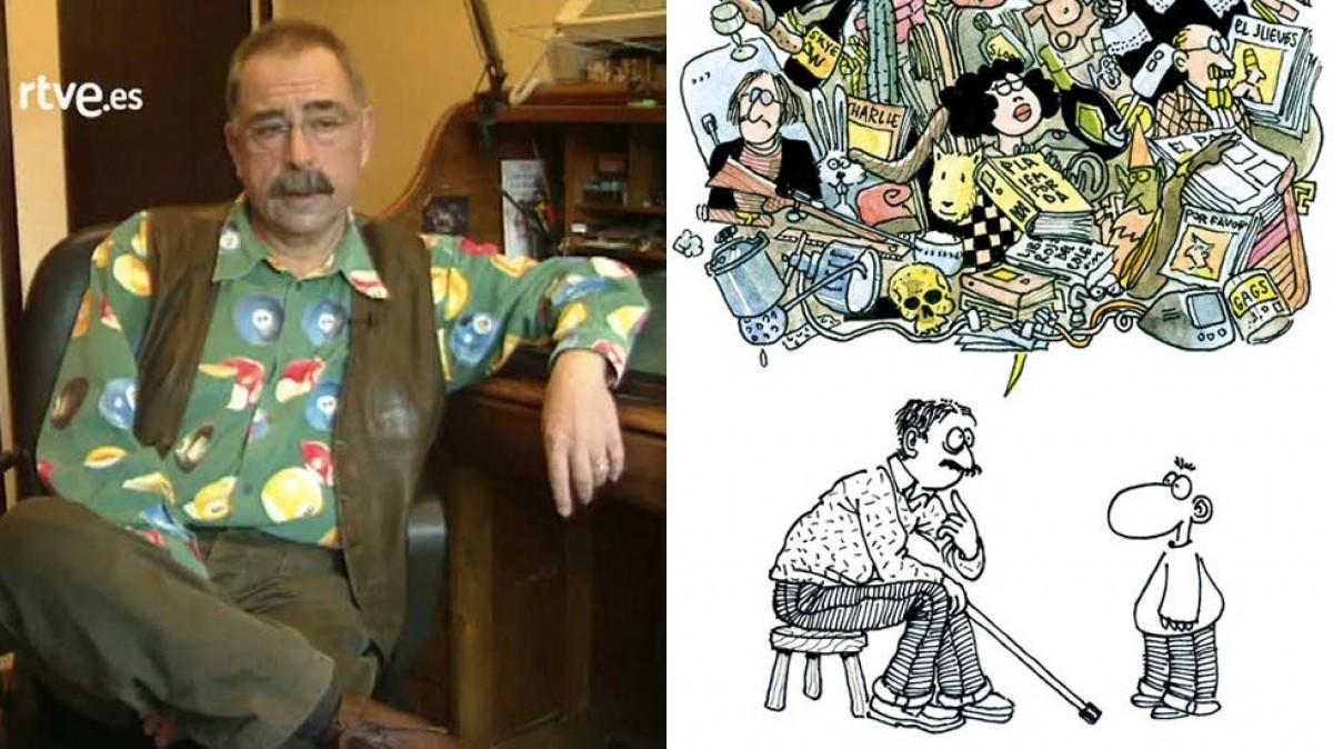 Carlos Romeu i una vinyeta del seu personatge més conegut: Miguelito