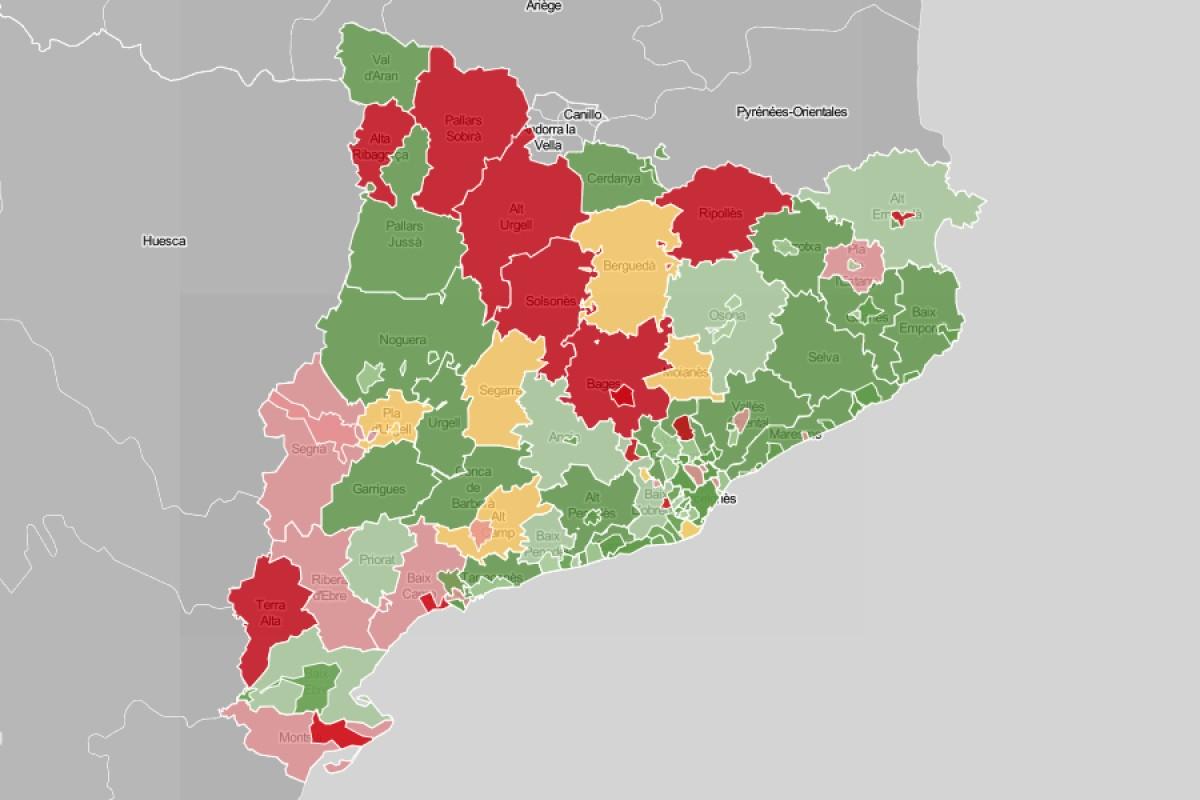 Mapa de municipis i comarques amb l'evolució dels contagis