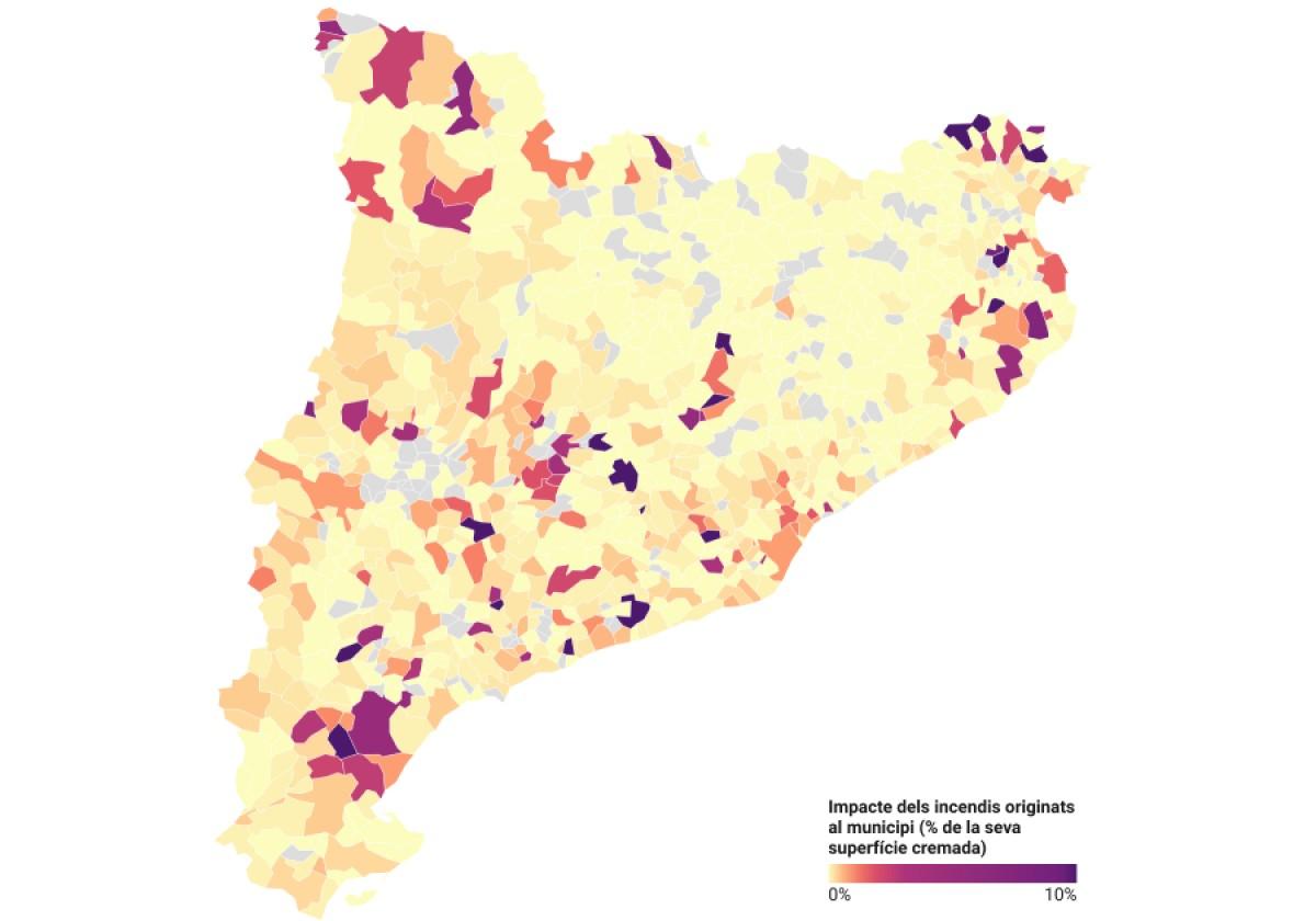 Mapa dels incendis per municipis