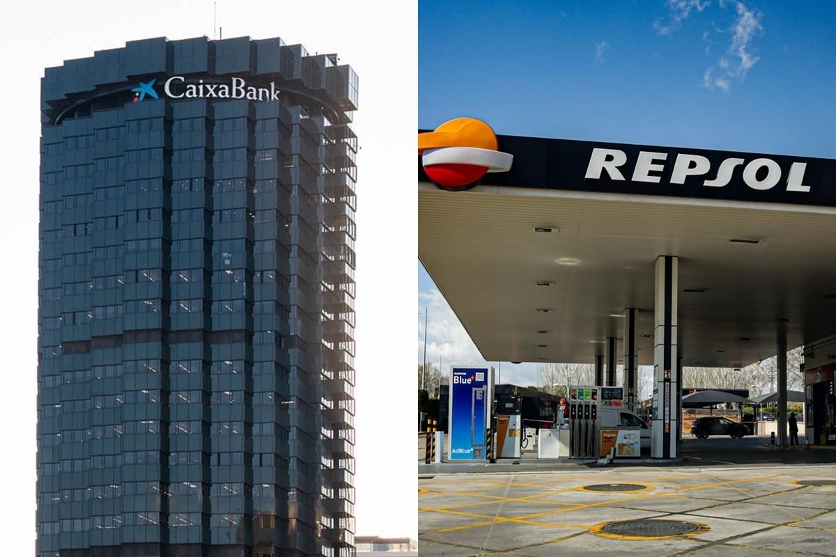 La seu de Caixabank i una gasolinera de Repsol