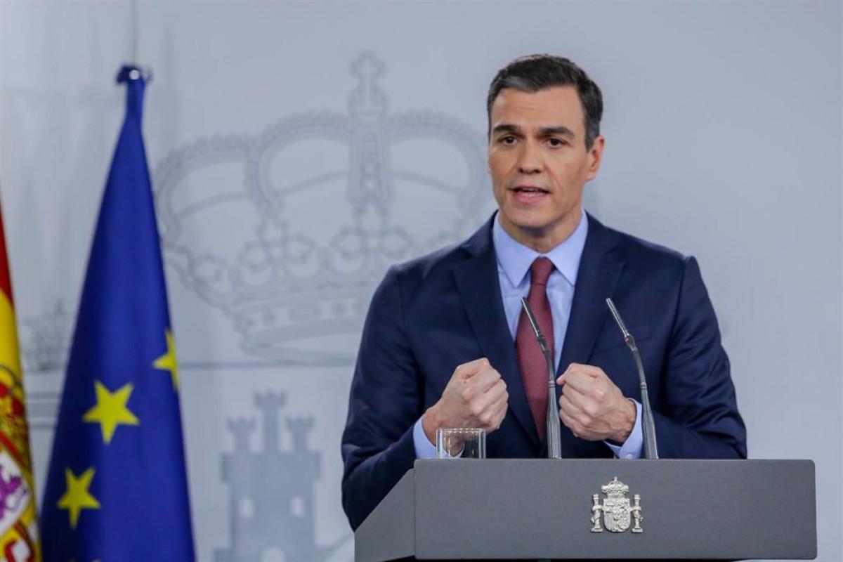 Pedro Sánchez en una roda de premsa
