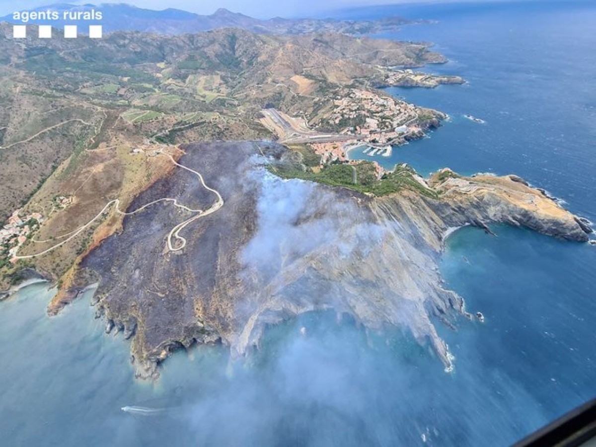 La zona cremada a Portbou