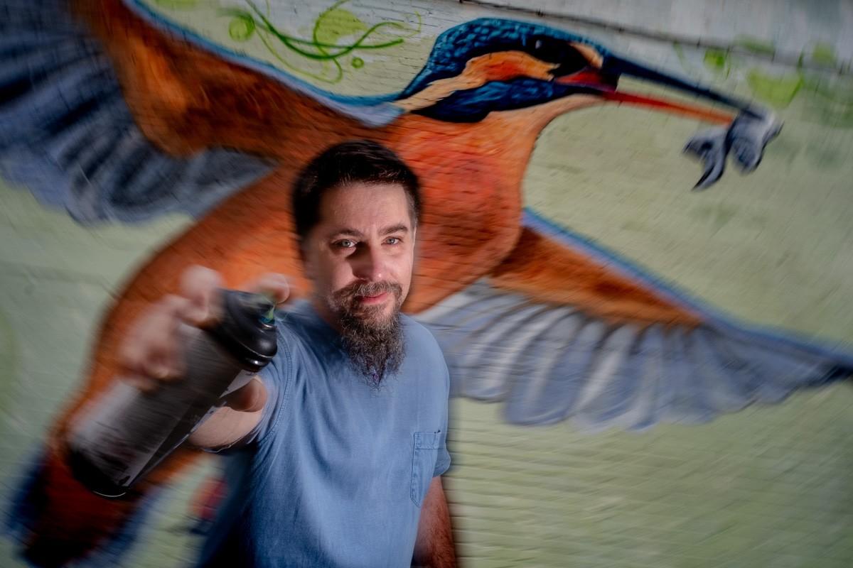 Jacob Cabezas, amb el mural