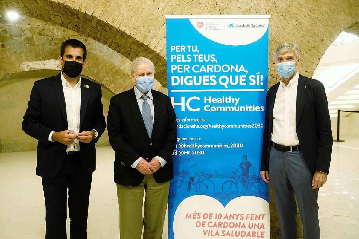 L'alcalde de Cardona, Ferran Estruch, el Dr. Valentí Fuster i el conseller Josep Maria Argimon