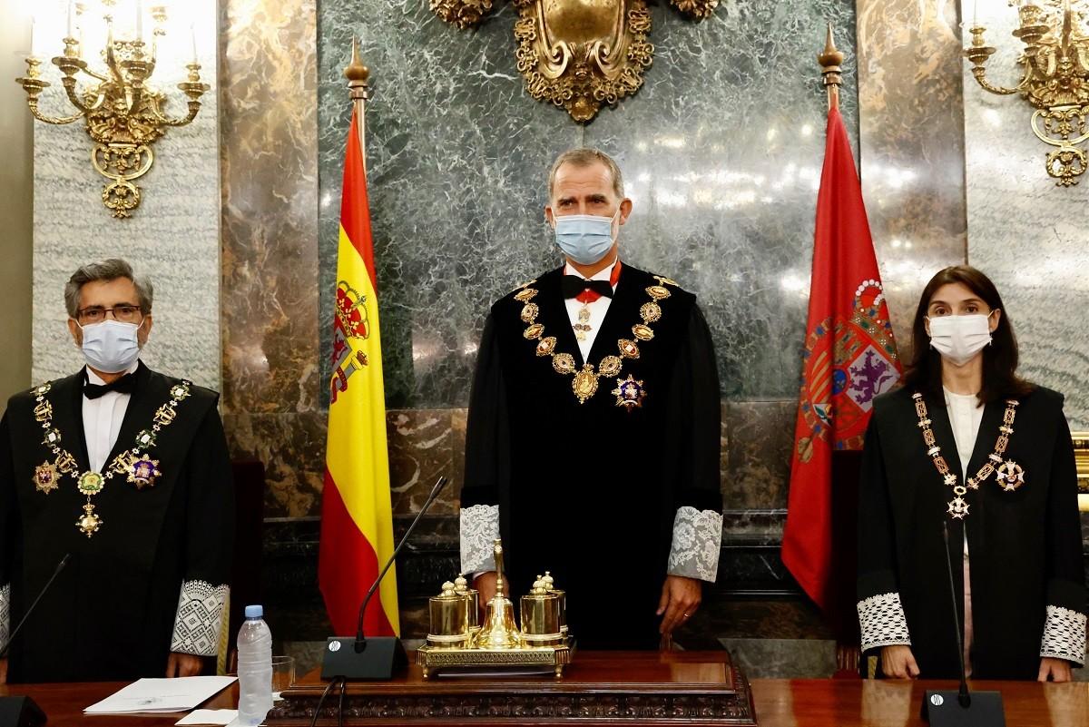 Carlos Lesmes, Felip VI i Pilar Llop, en l'obertura de l'any judicial