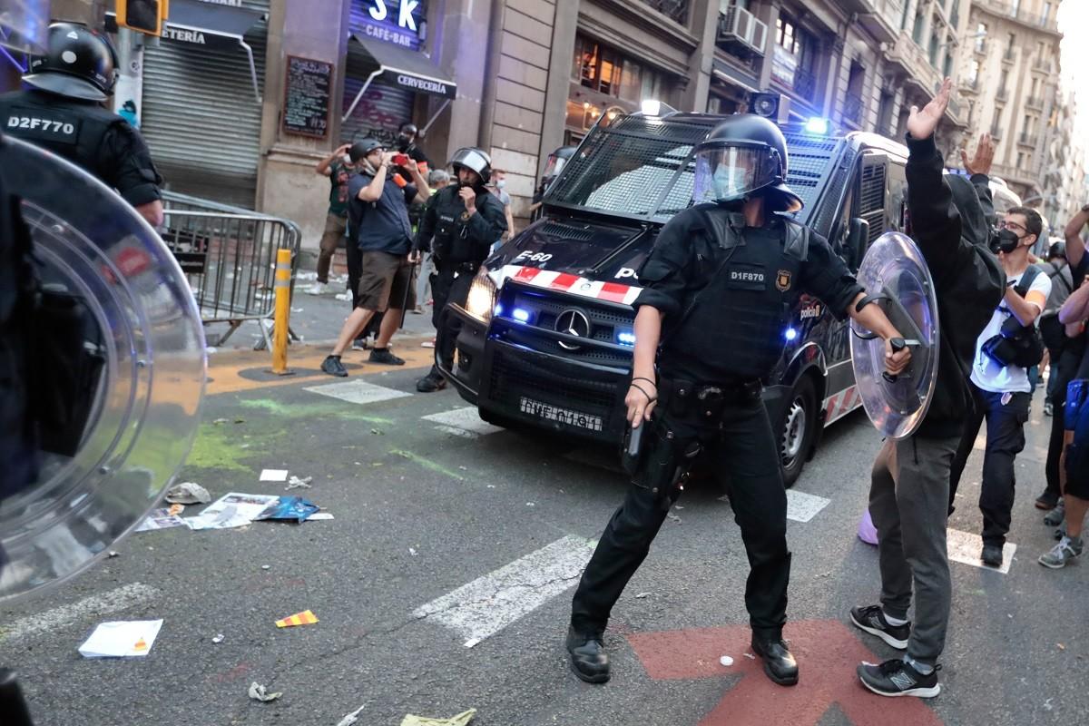 Els Mossos actuen a Via Laietana
