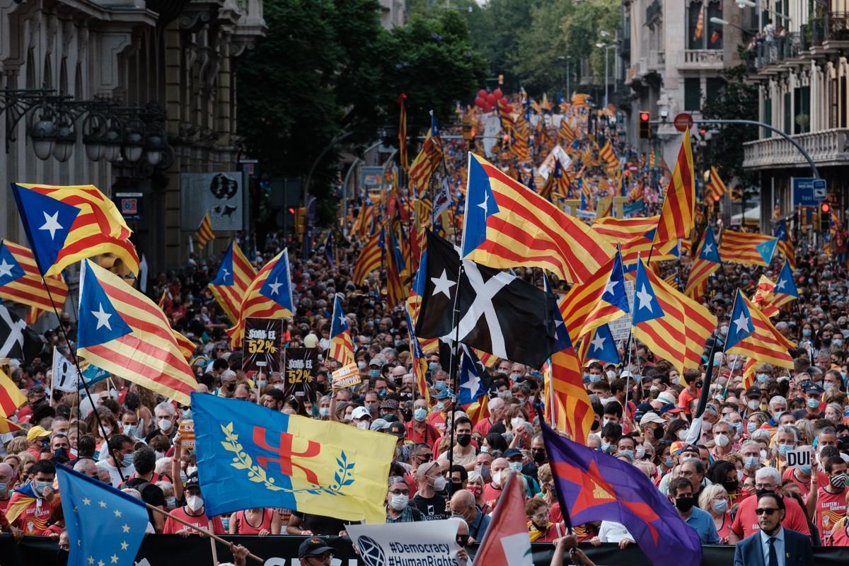 La manifestació de la Diada a la Via Laietana